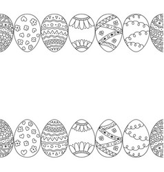 Seamless decorative border of hand drawn easter vector