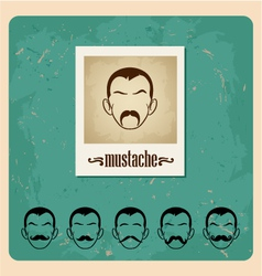 set faces with mustaches vector image