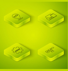 Set isometric line monitor mobile tablet ui ux vector