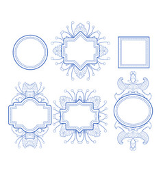 set of monogram geometric floral frames vector image
