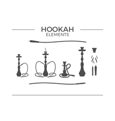 Set of shilhouette Hookah design elements Use for vector
