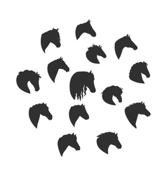 Set of Silhouettes of Horse Heads vector