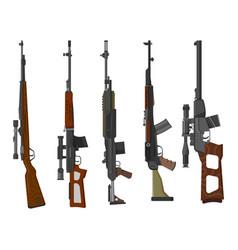 set rifle guns military and hunting weapon vector image