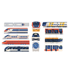 set train tram and metro front and side view vector image