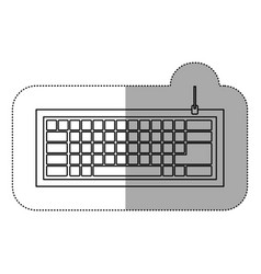 silhouette computer keyboard icon vector image