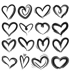 sketch heart decorative grunge doodle drawn vector image