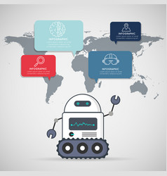 smart robot with infographic icons design vector image