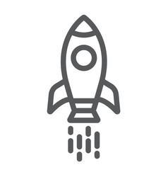 Spaceship line icon shuttle and cosmos rocket vector