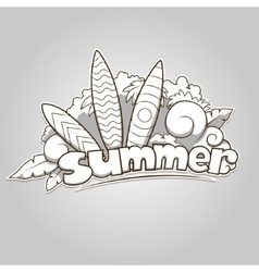 Summer surfing colorless vector