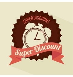 Super discount clock brown sticker banner design vector