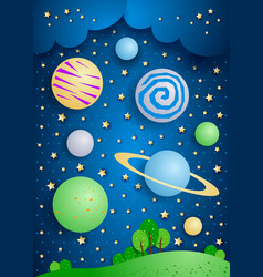 Surreal landscape with big planets in sky vector