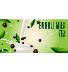 Tea with milk and tapioca splash milk vector