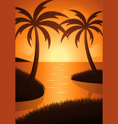 the beauty of the sunset on the beach vector image