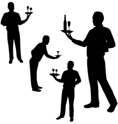 Waiters silhouettes vector