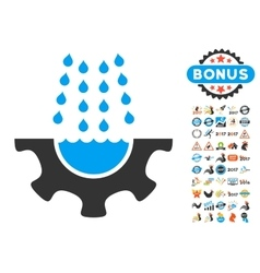 Water Shower Service Gear Icon With 2017 Year vector