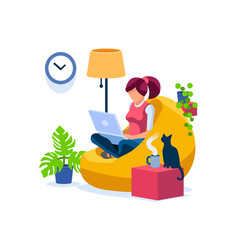 Woman working at home office vector