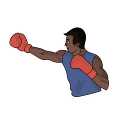 brown boxer in boxing glovesthe olympic sport of vector image vector image
