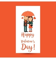 Couple with umbrella Valentines Day flyer vector image