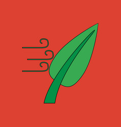 Flat icon design collection leaf and wind vector
