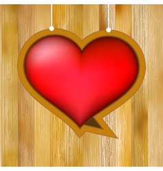 Glow heart on wood background EPS8 vector image