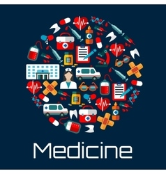 Healthcare and hospital emergency flat icons vector image