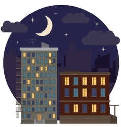 Night Urban Landscape City Estate Round Flat Icon vector image vector image