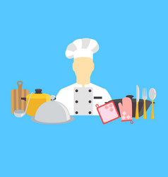 cook and kitchenware icons vector image