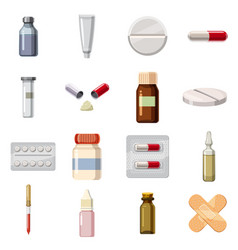 medicine drugs types icons set cartoon style vector image
