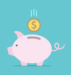 piggy bank dollar coin vector image