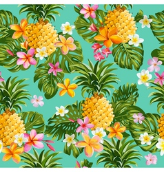 Pinapples and Tropical Flowers Background vector image vector image