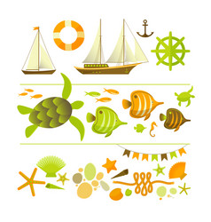 summer colored icons set vector image vector image