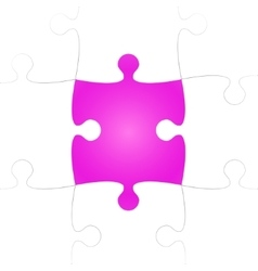 White Puzzle Pieces with One Pink Missing vector image vector image