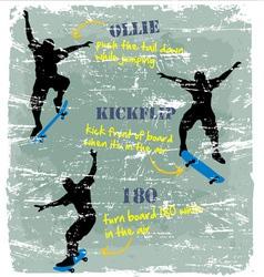 3 styles Skate board crack vector image