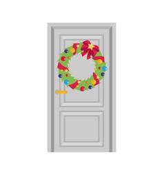 Christmas wreath with bow flat vector