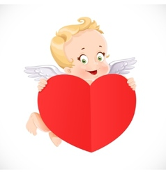 Cute Cupid flies with a big valentine heart shaped vector image vector image