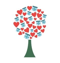 Love tree with hearts and gift boxes flat icon vector image vector image