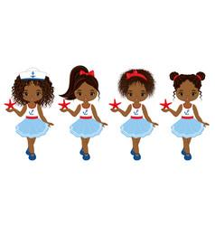 nautical little african american girls vector image vector image
