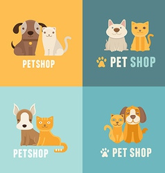 pet shop logo design templates vector image