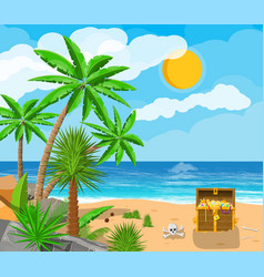 pirates treasure island with chest vector image