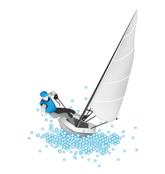 A Small Sail Boat Blasting Through A Wave vector image