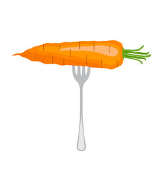 carrot on the fork vegetarian juicy raw fresh vector image