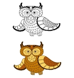 Cartoon owl with brown and yellow plumage vector image