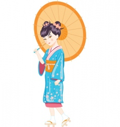 Japanese girl with umbrella vector image