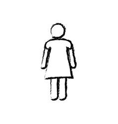 monochrome sketch of pictogram woman vector image