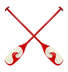 Professional red canoe oars vector image