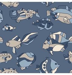 seamless pattern aquarium fish wave vector image vector image