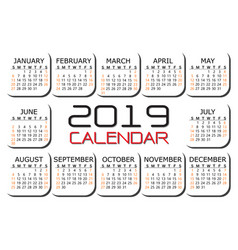 2019 calendar red black text number on white vector image