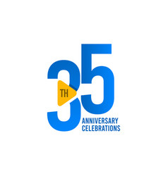 35 years anniversary celebration blue template vector