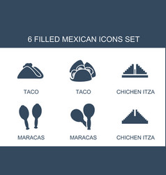 6 mexican icons vector