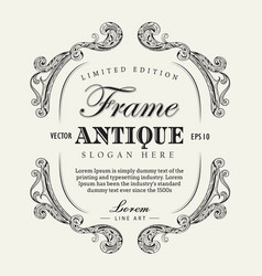 antique frame hand drawn vintage label banner vector image